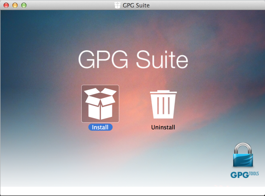 GPG Suit Mac OS X Install Welcome Screen