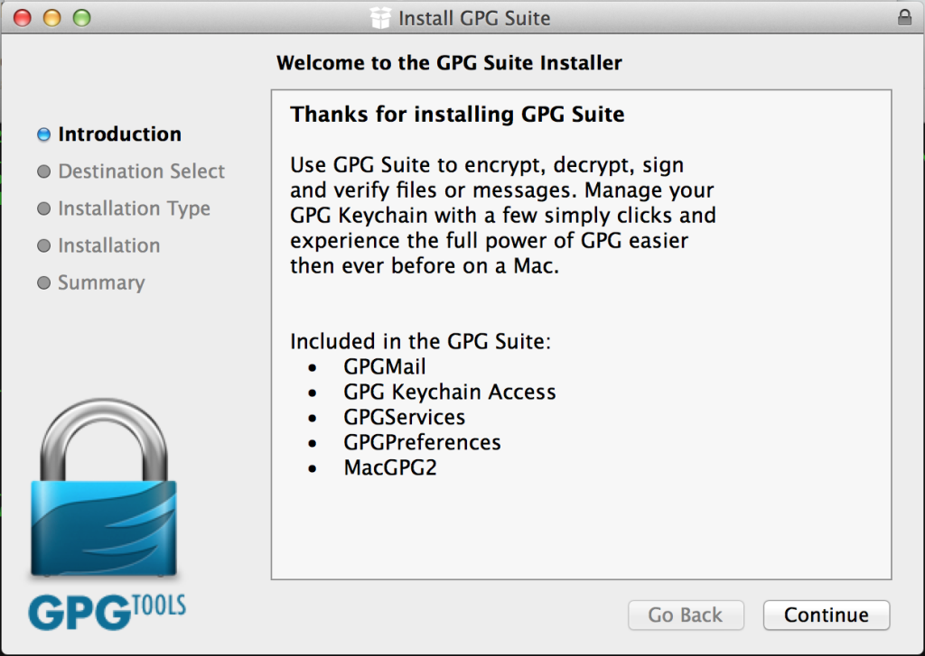 GPG Suit Mac OS X Install Screen 2